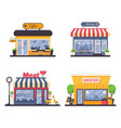 detailed storefront for grocery and meat shop vector image