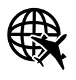 earth globe diagrama and airplane icon vector image vector image