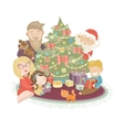 Family celebrating Christmas at the christmas tree vector image vector image