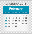 february 2018 calendar calendar sticker design vector image vector image