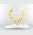 gold laurel wreath on podium vector image