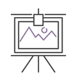graph with two lines on whiteboard flipchart icon vector image vector image