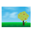 Green grass in a blue sky with tree vector image vector image