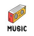 hand draw record player icon in doodle style vector image