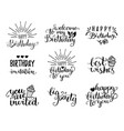 happy birthday hand lettering collection vector image