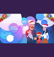 happy family wearing santa hats over merry vector image