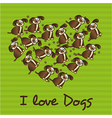 heart made with dogs over reen striped background vector image vector image