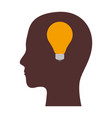 human face brown silhouette with light bulb inside vector image