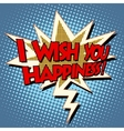 i wish you happiness explosion bubble retro comic vector image vector image