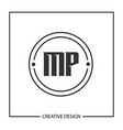 initial letter mp logo template design vector image