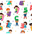 kids alphabet children font and boy or girl vector image