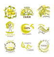 labels for organic natural eco and bio products vector image