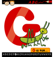 letter g with grasshopper cartoon vector image vector image