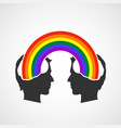 lgbt couple in love with a colorful rainbow vector image