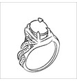line drawing of ring -simple line vector image