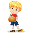 Little boy holding bread bun vector image
