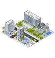 luxury hotel buildings isometric design concept vector image