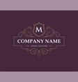 luxury logo monogram in vintage linear style vector image