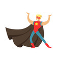 male superhero in cape posing and showing muscles vector image vector image