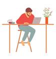 man at home sitting computer freelancer vector image