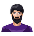 man with a beard and long black hair on white vector image vector image