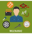Mechanic man and car details vector image