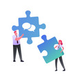 office characters work together setting up vector image vector image