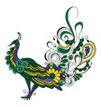 peacock on white background vector image vector image
