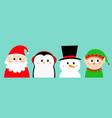 penguin bird snowman santa claus elf round head vector image vector image