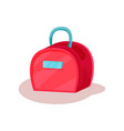 pink women handbag with small blue handle fashion vector image
