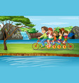 scene with family riding bicycle in park vector image vector image