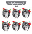 set of cute hedgehog characters set 5 vector image