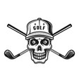 skull golfer in cap and two golf sticks vector image