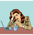 Stress at Work Girl Drinking Pills Business Woman vector image vector image