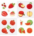 vegetarian food icons in cartoon style red color vector image vector image