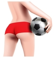 woman with soccer ball vector image vector image