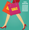 women legs with red high heels and shopping bags vector image