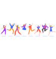 young people jump jumping students excited vector image