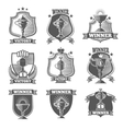 Trophy cup champions labels logos emblems vector image
