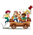 A bandwagon with kids vector image vector image
