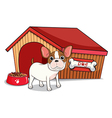 A young bulldog outside the doghouse vector image vector image