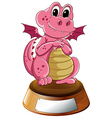 A young dragon above the trophy stand with an vector image vector image