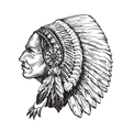 American indian chief Hand-drawn sketch vector image vector image