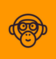 ape monkey with glasses line icon vector image