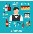 Barman and bartender flat icons vector image