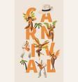 brazilian samba carnival latino character poster vector image vector image