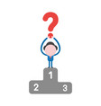 businessman character holding up question mark on vector image