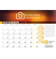 Calendar for november 2019 design print template