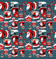 cartoon christmas wrapping paper vector image vector image