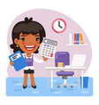 cartoon female accountant in office vector image